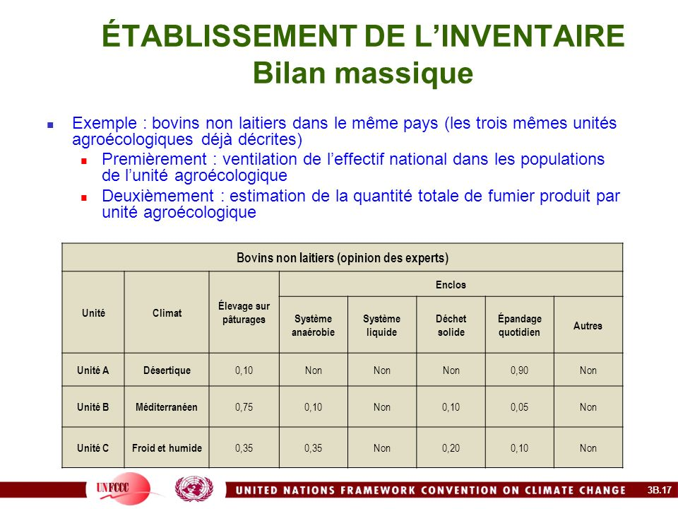 ÉTABLISSEMENT DE L'INVENTAIRE Bilan massique