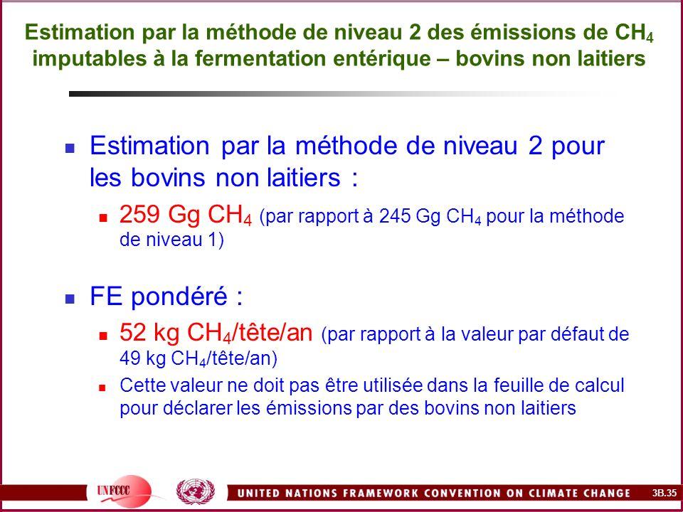 Estimation par la méthode de niveau 2 pour les bovins non laitiers :