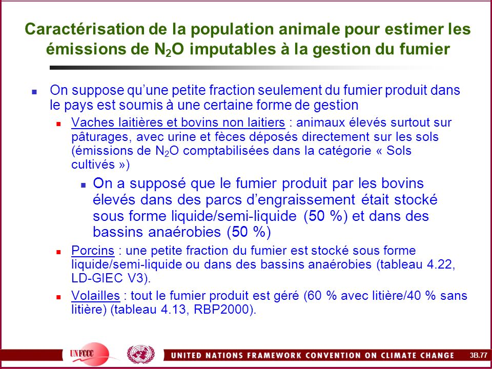 Caractérisation de la population animale pour estimer les émissions de N2O imputables à la gestion du fumier