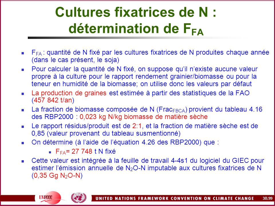 Cultures fixatrices de N : détermination de FFA