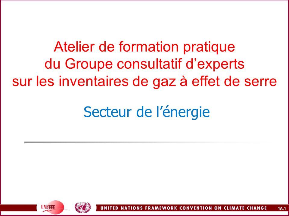 Atelier de formation pratique du Groupe consultatif d'experts sur les inventaires de gaz à effet de serre Secteur de l'énergie