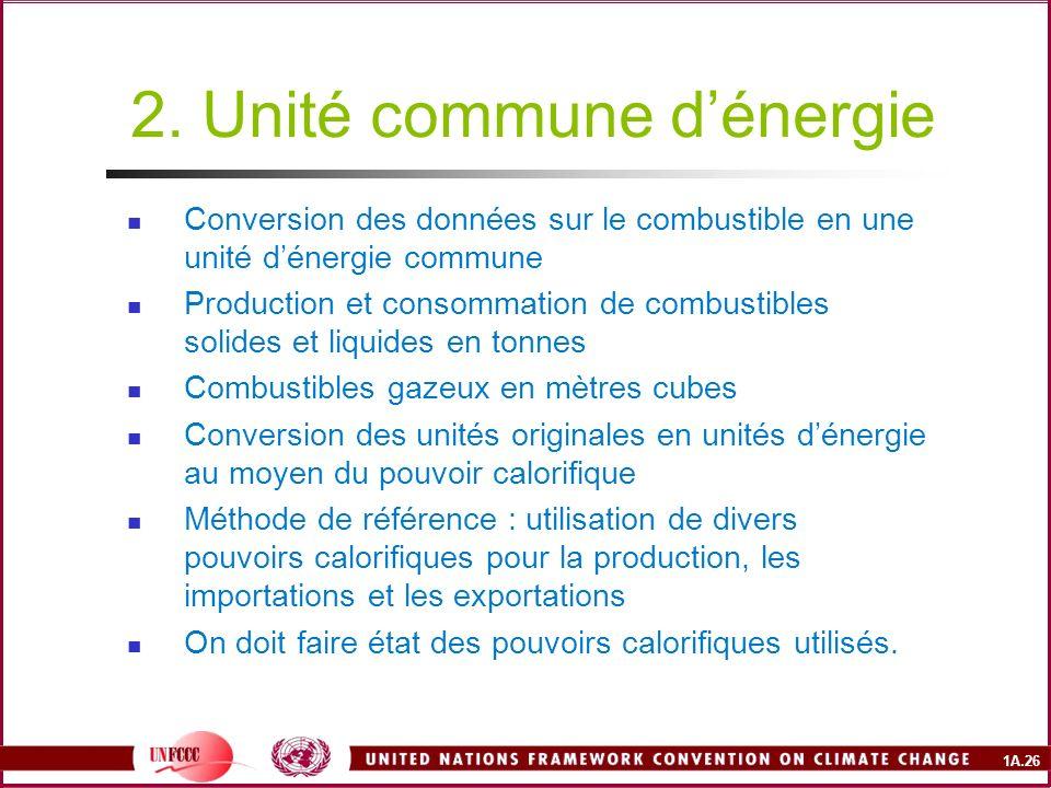 2. Unité commune d'énergie