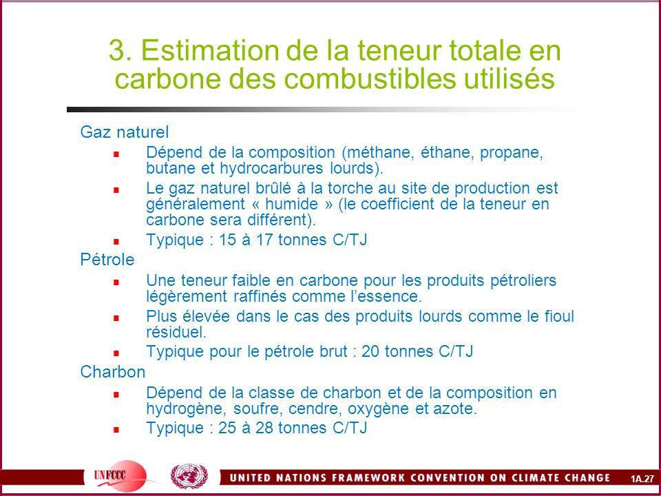 3. Estimation de la teneur totale en carbone des combustibles utilisés