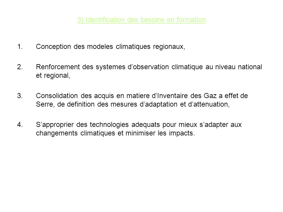 3) Identification des besoins en formation