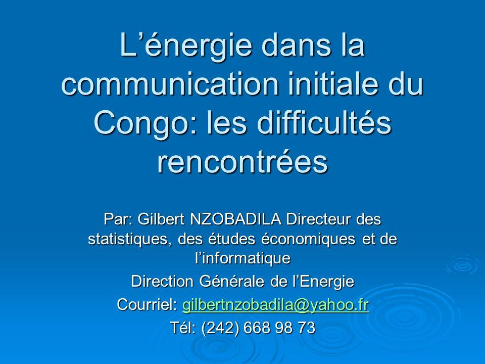 L'énergie dans la communication initiale du Congo: les difficultés rencontrées