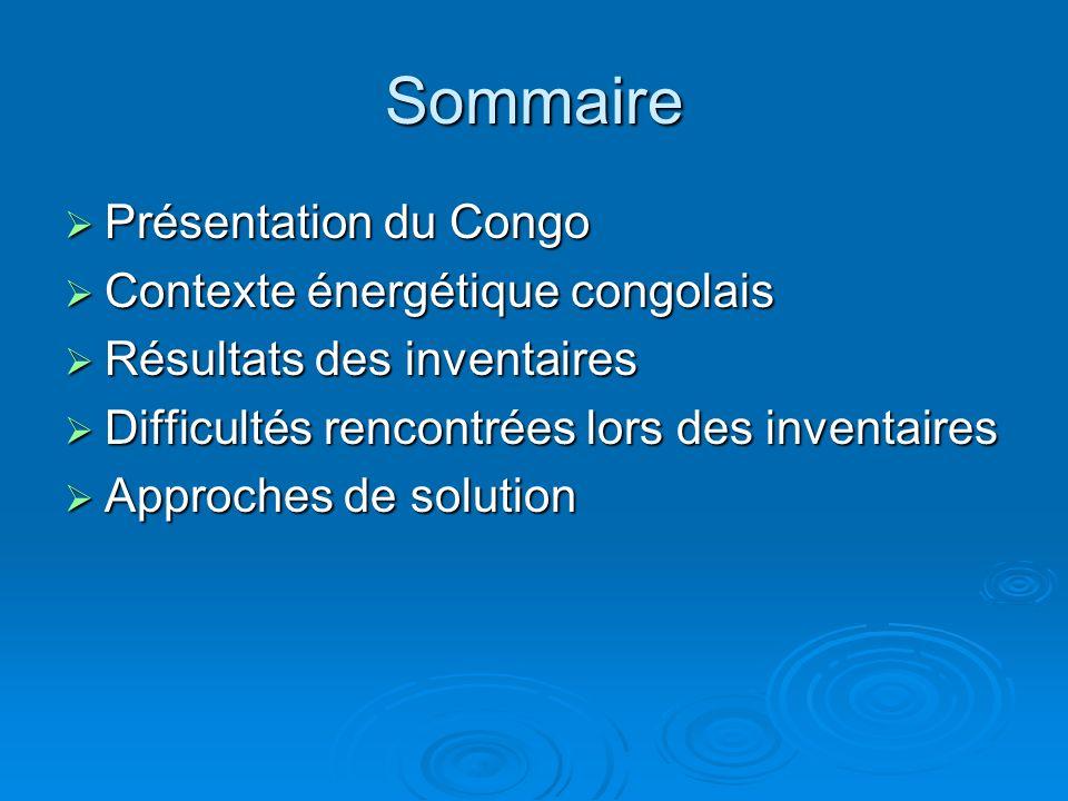 Sommaire Présentation du Congo Contexte énergétique congolais