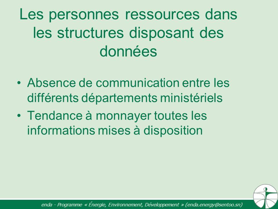 Les personnes ressources dans les structures disposant des données