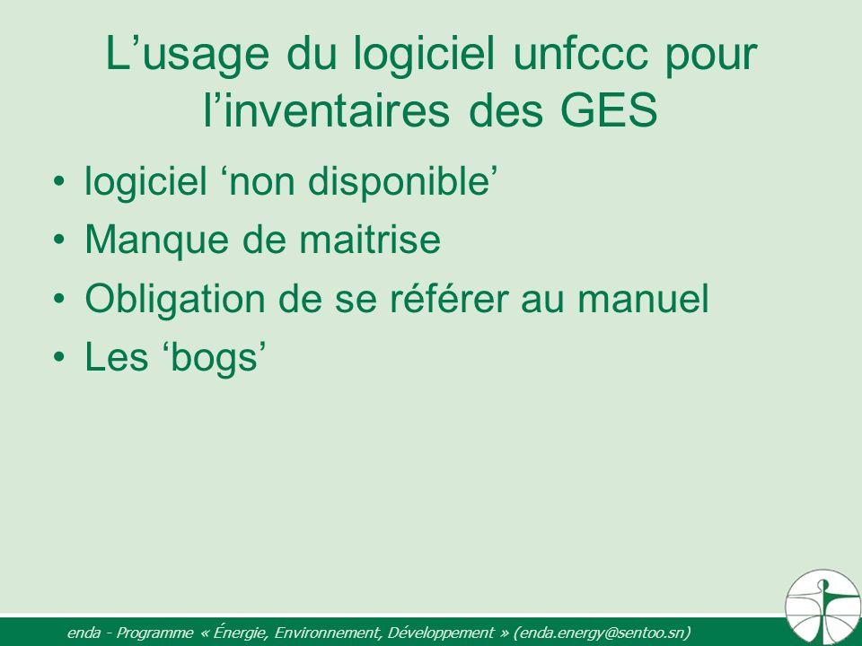 L'usage du logiciel unfccc pour l'inventaires des GES