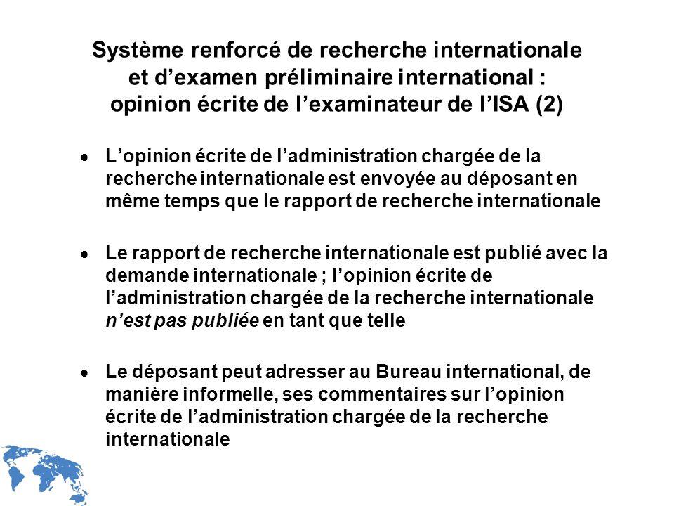 Système renforcé de recherche internationale et d'examen préliminaire international : opinion écrite de l'examinateur de l'ISA (2)