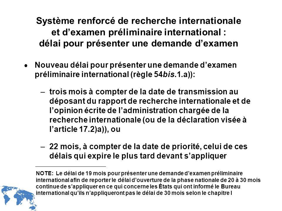 Système renforcé de recherche internationale et d'examen préliminaire international : délai pour présenter une demande d'examen