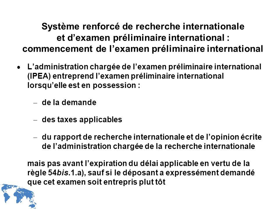 Système renforcé de recherche internationale et d'examen préliminaire international : commencement de l'examen préliminaire international