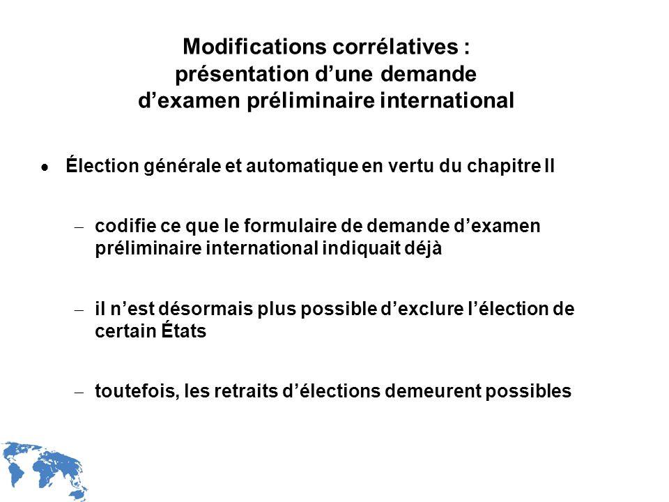 Modifications corrélatives : présentation d'une demande d'examen préliminaire international
