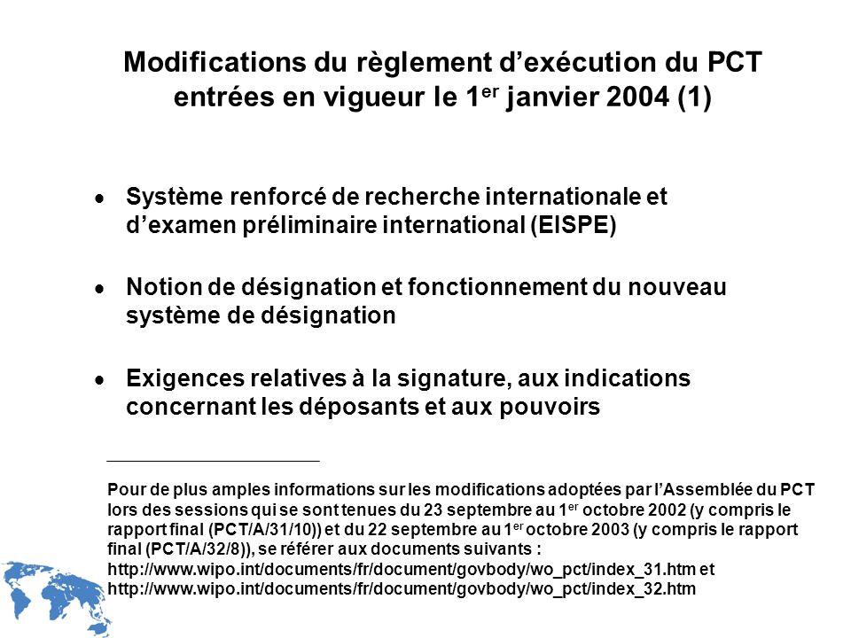 Modifications du règlement d'exécution du PCT entrées en vigueur le 1er janvier 2004 (1)
