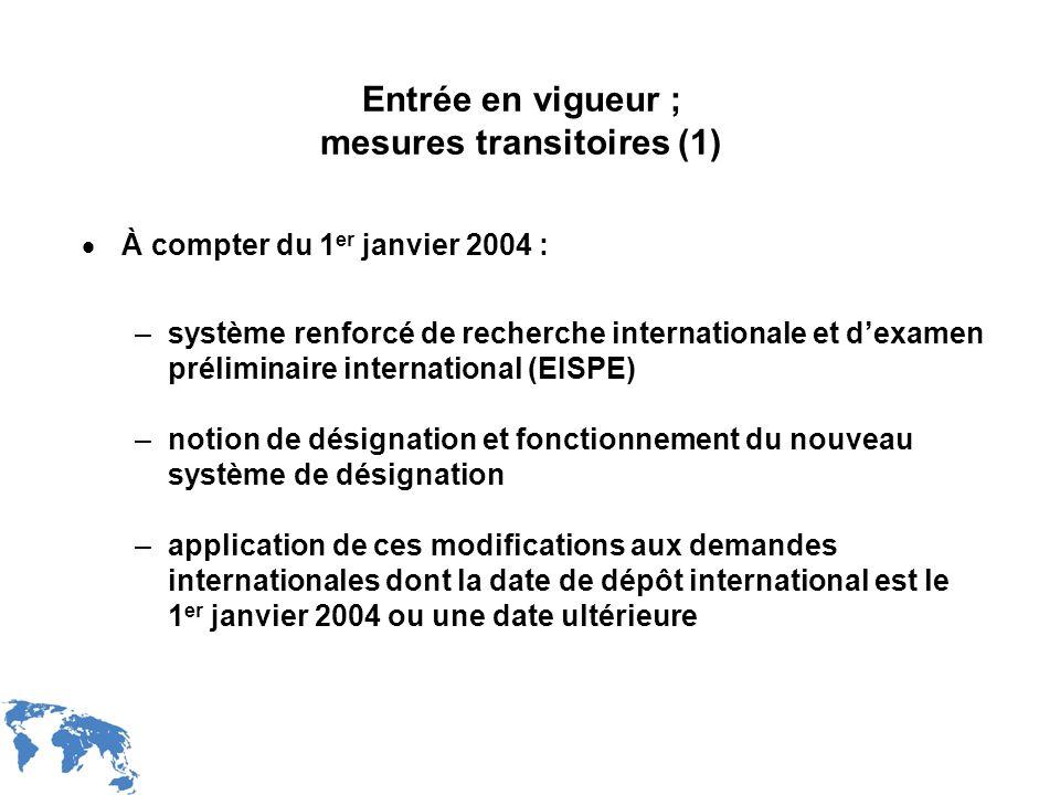Entrée en vigueur ; mesures transitoires (1)
