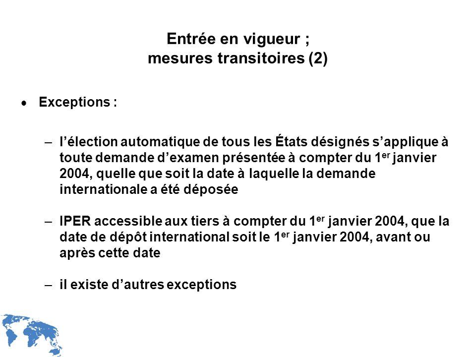 Entrée en vigueur ; mesures transitoires (2)