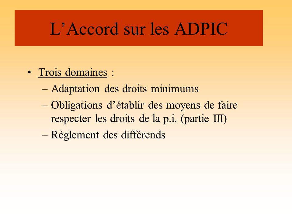 L'Accord sur les ADPIC Trois domaines : Adaptation des droits minimums