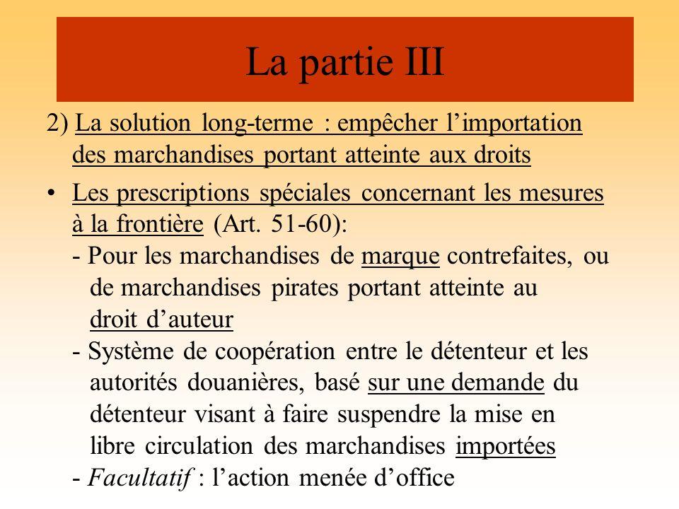 La partie III 2) La solution long-terme : empêcher l'importation des marchandises portant atteinte aux droits.