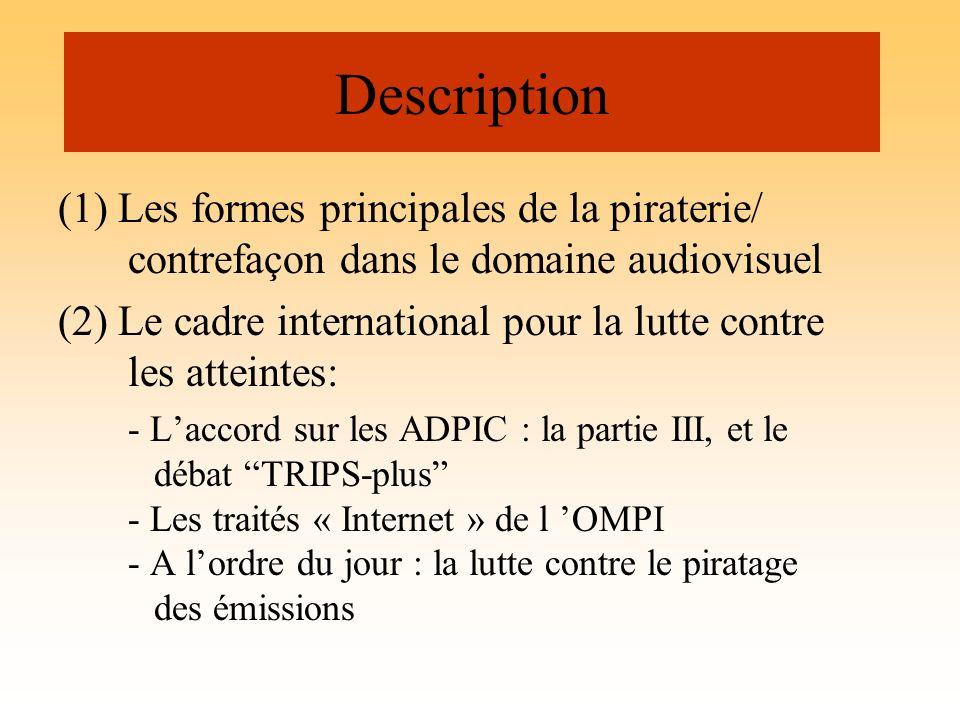 Description (1) Les formes principales de la piraterie/ contrefaçon dans le domaine audiovisuel.