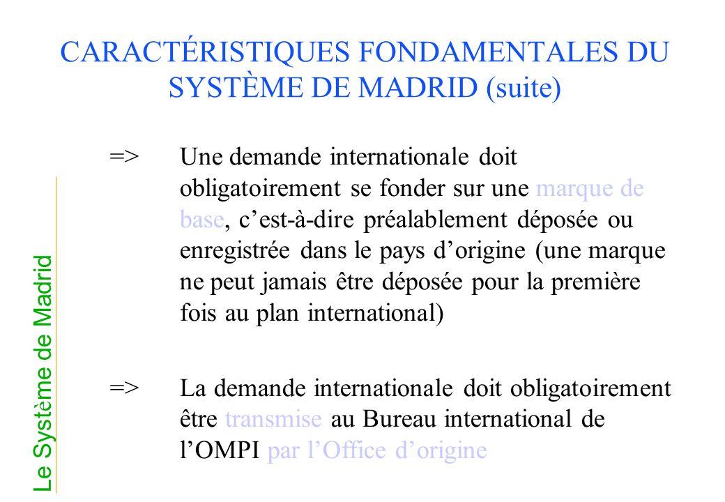 CARACTÉRISTIQUES FONDAMENTALES DU SYSTÈME DE MADRID (suite)