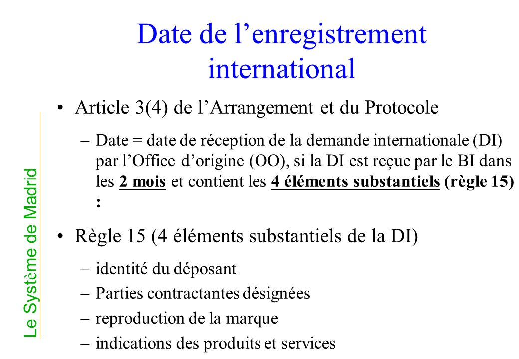 Date de l'enregistrement international