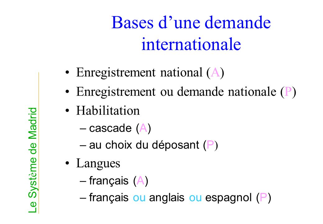 Bases d'une demande internationale