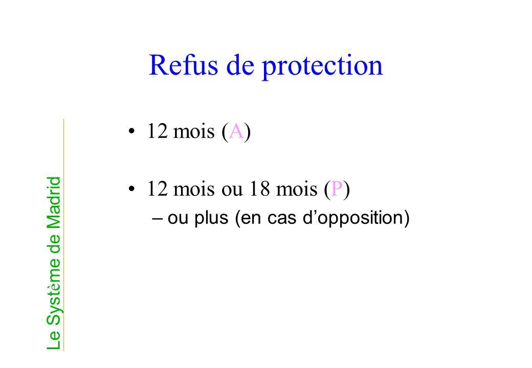 Refus de protection 12 mois (A) 12 mois ou 18 mois (P)