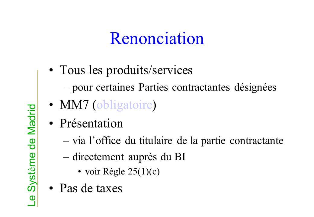 Renonciation Tous les produits/services MM7 (obligatoire) Présentation