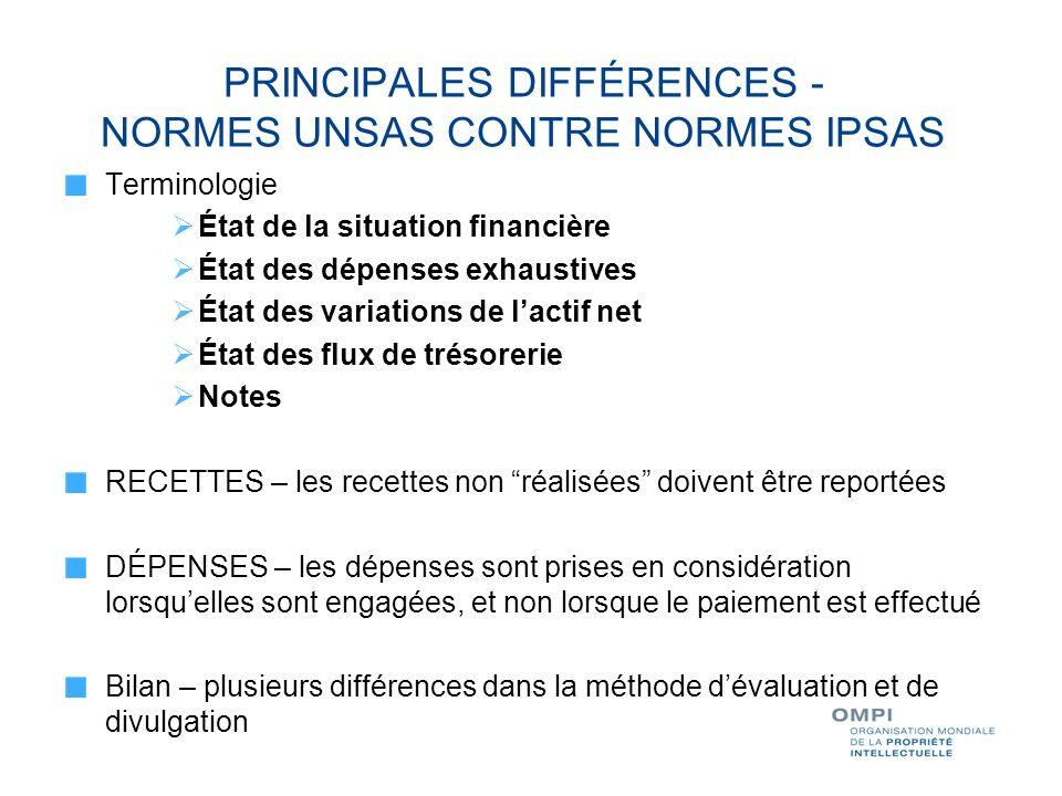 PRINCIPALES DIFFÉRENCES - NORMES UNSAS CONTRE NORMES IPSAS