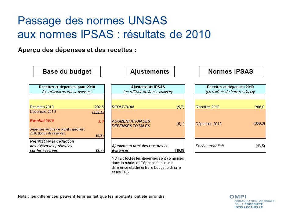 Passage des normes UNSAS aux normes IPSAS : résultats de 2010