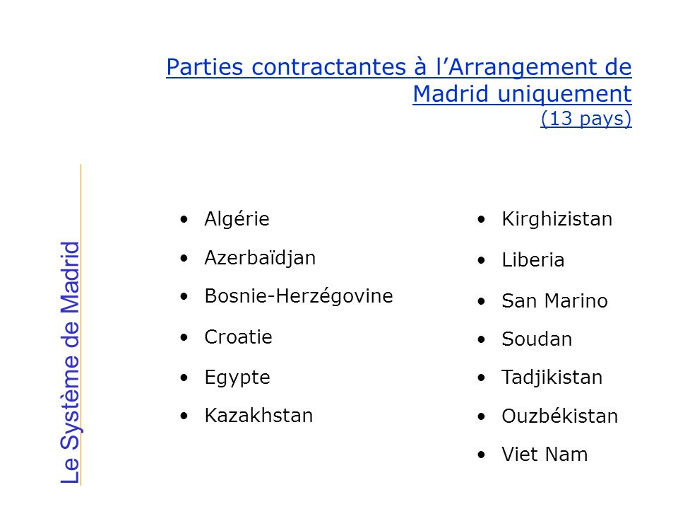 Parties contractantes à l'Arrangement de Madrid uniquement (13 pays)