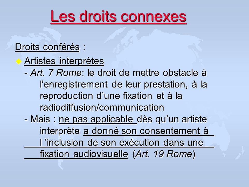 Les droits connexes Droits conférés :