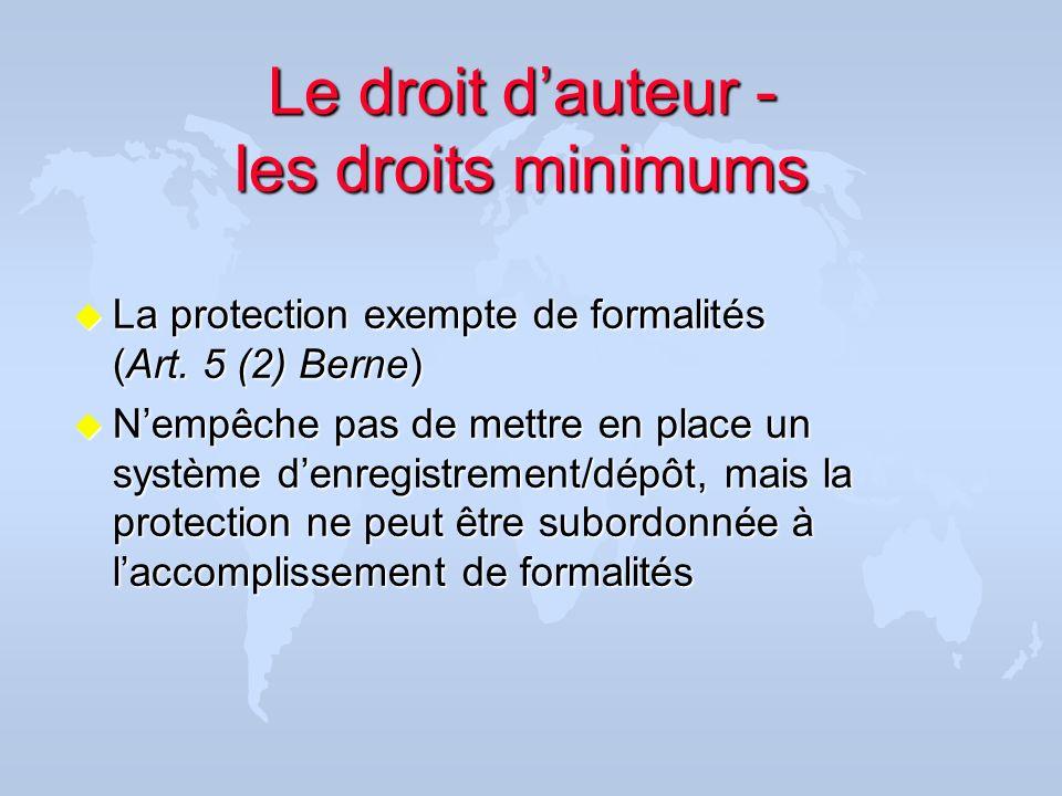 Le droit d'auteur - les droits minimums