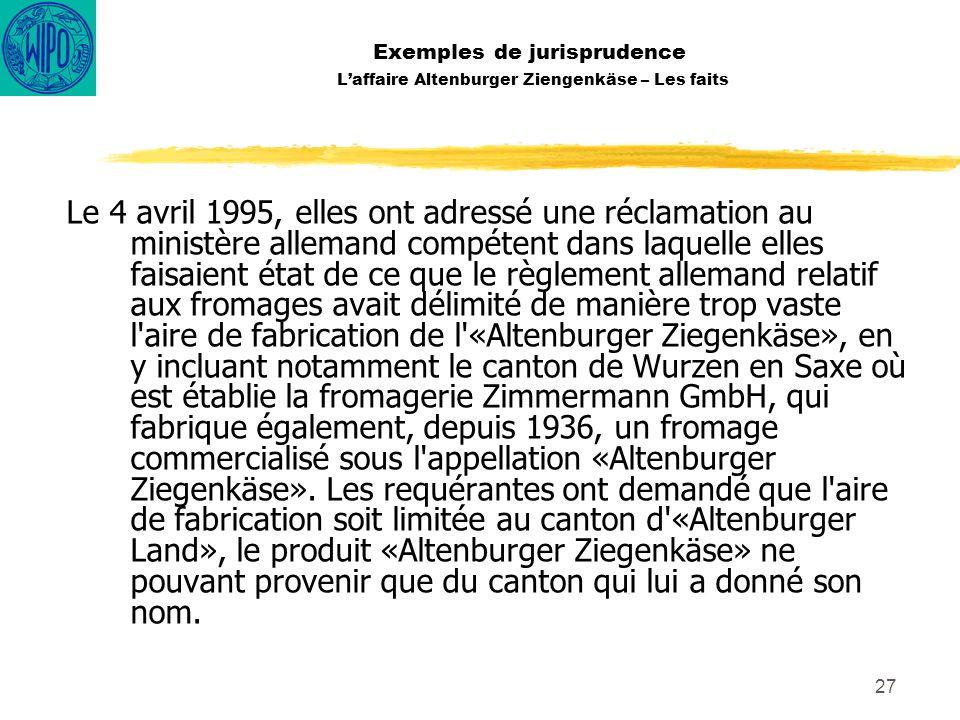 Exemples de jurisprudence L'affaire Altenburger Ziengenkäse – Les faits