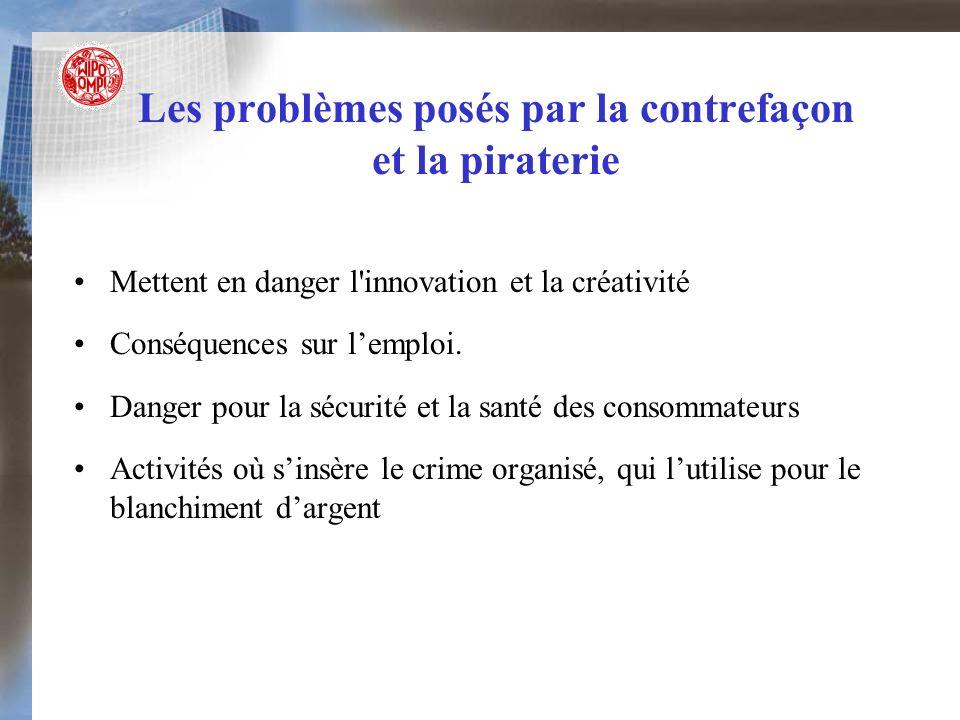 Les problèmes posés par la contrefaçon et la piraterie