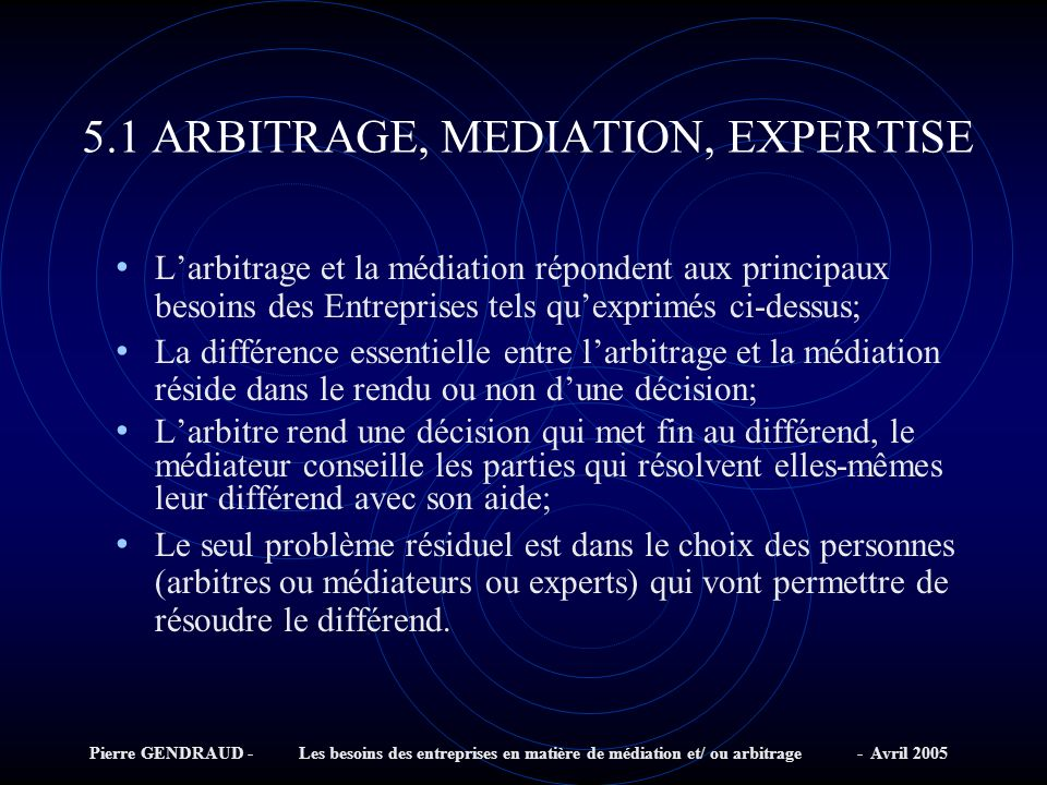 5.1 ARBITRAGE, MEDIATION, EXPERTISE