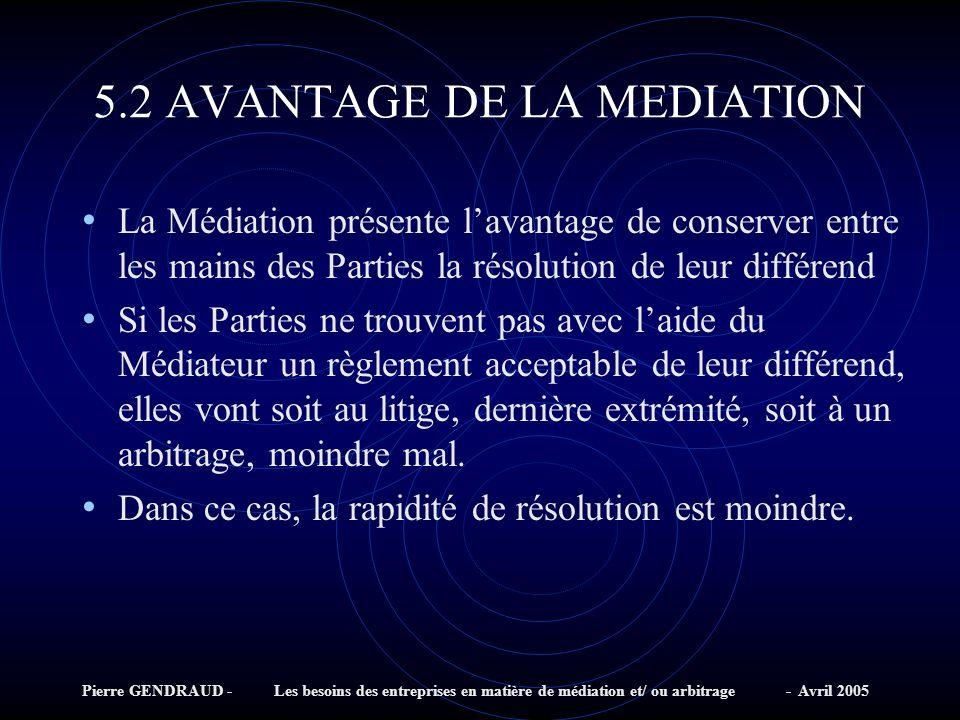 5.2 AVANTAGE DE LA MEDIATION