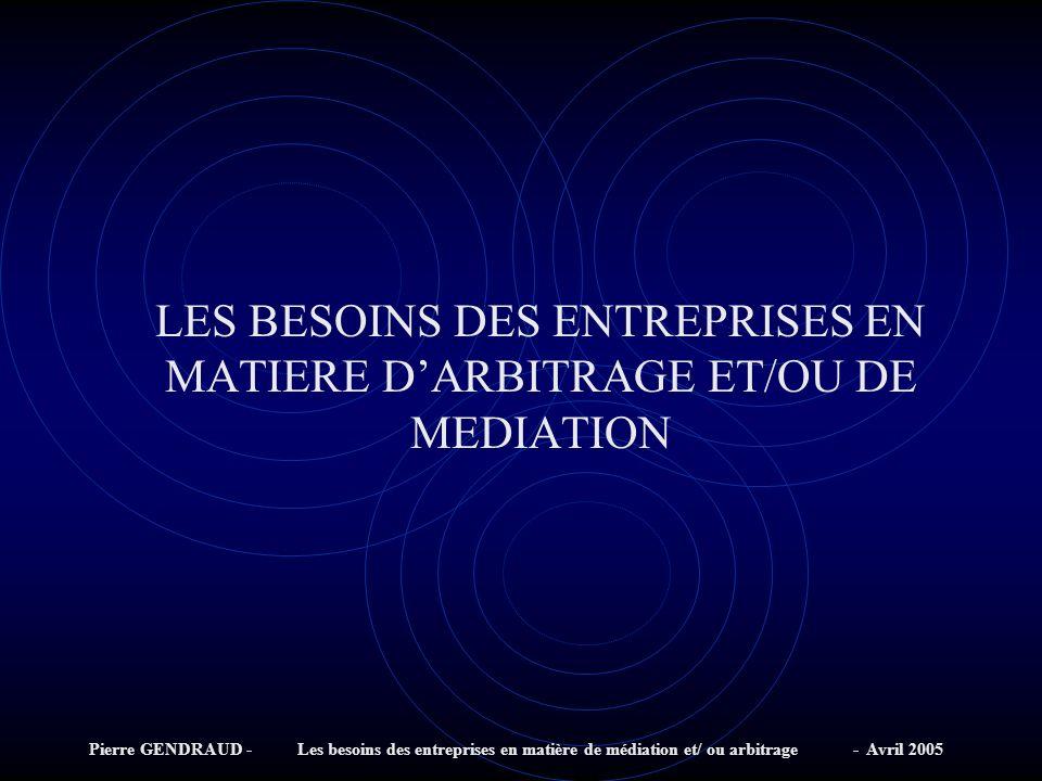 LES BESOINS DES ENTREPRISES EN MATIERE D'ARBITRAGE ET/OU DE MEDIATION