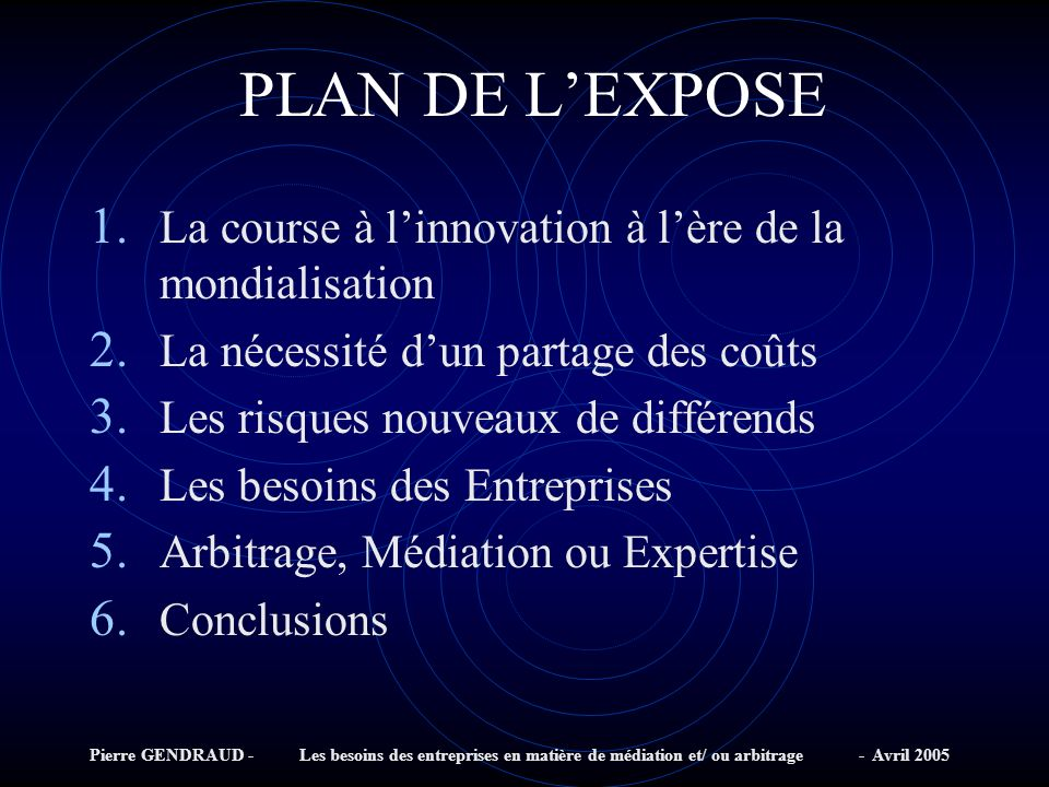 PLAN DE L'EXPOSE La course à l'innovation à l'ère de la mondialisation