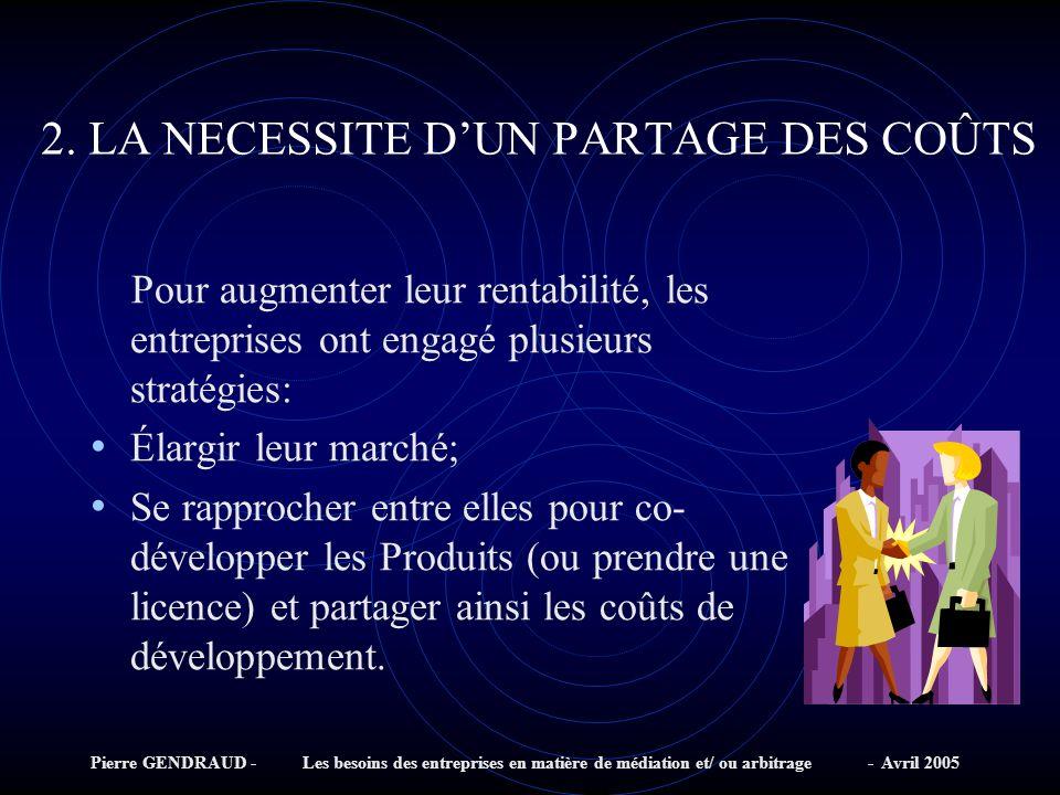 2. LA NECESSITE D'UN PARTAGE DES COÛTS