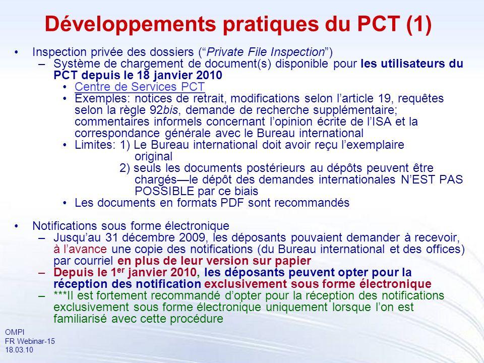 Développements pratiques du PCT (1)