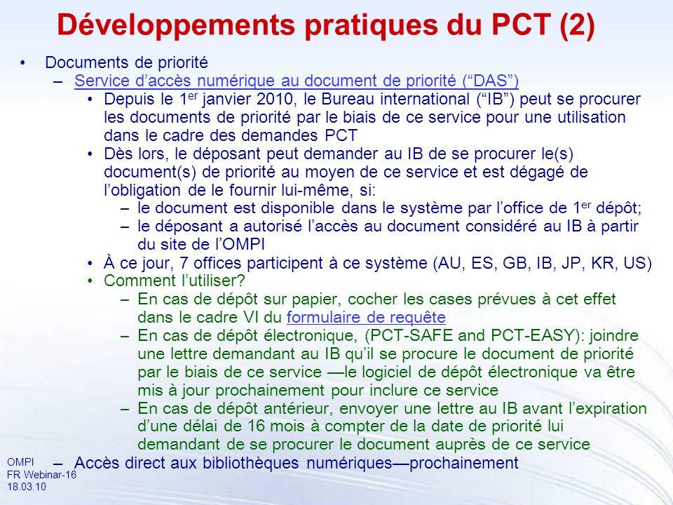 Développements pratiques du PCT (2)