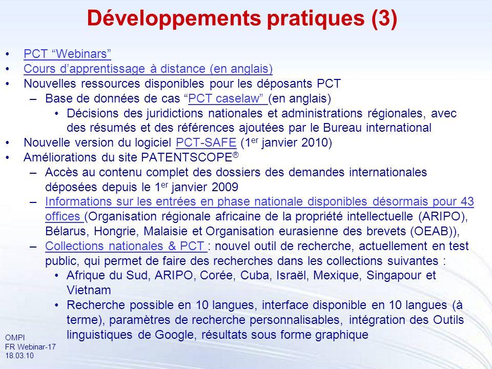 Développements pratiques (3)