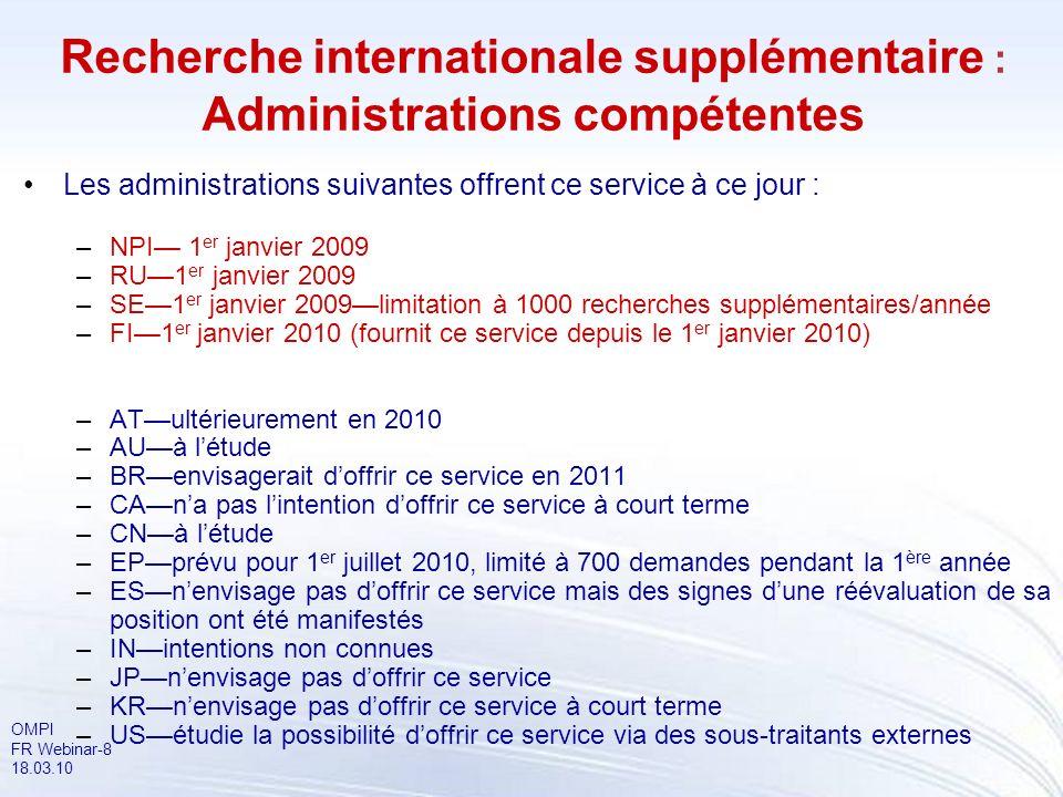 Recherche internationale supplémentaire : Administrations compétentes