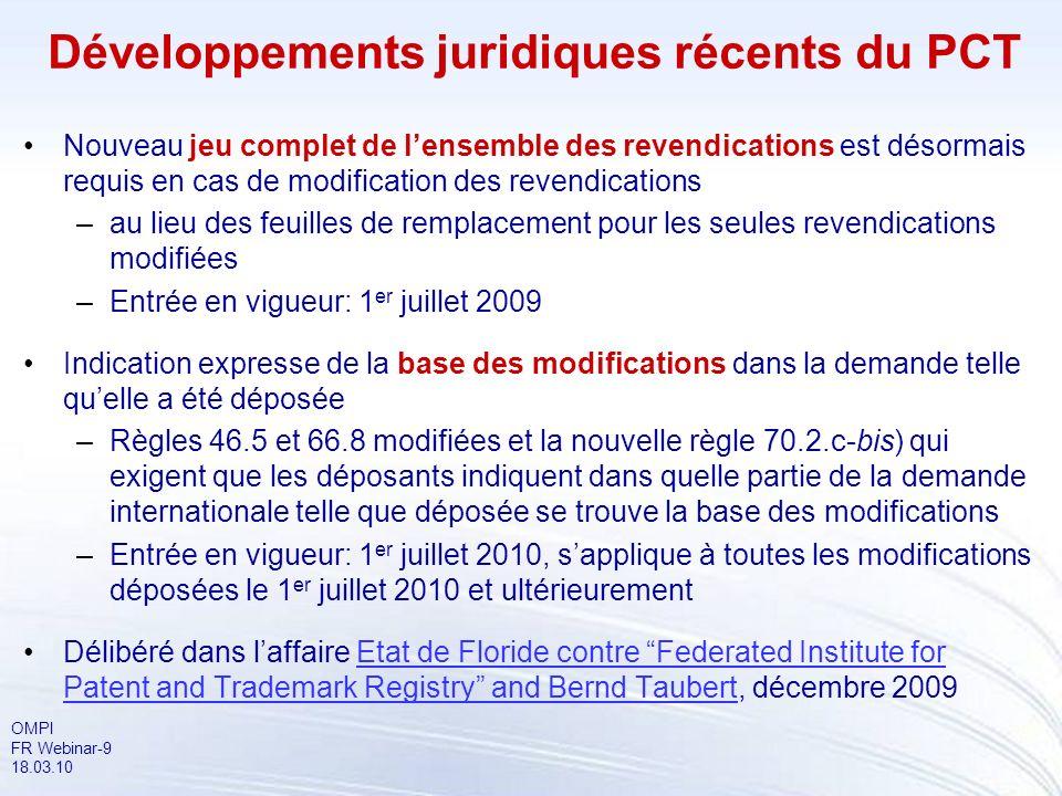 Développements juridiques récents du PCT