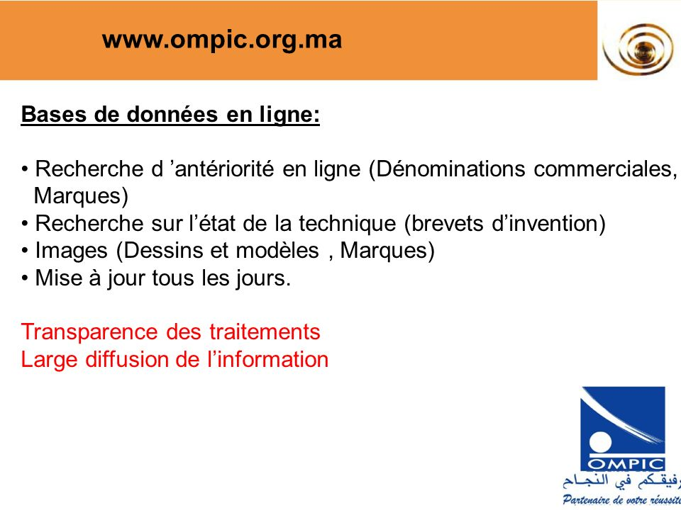www.ompic.org.ma Bases de données en ligne: