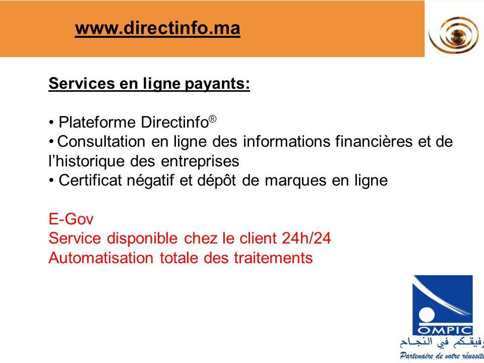 www.directinfo.ma Services en ligne payants: Plateforme Directinfo®