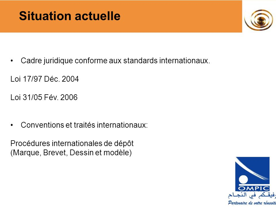 Situation actuelle Cadre juridique conforme aux standards internationaux. Loi 17/97 Déc. 2004. Loi 31/05 Fév. 2006.