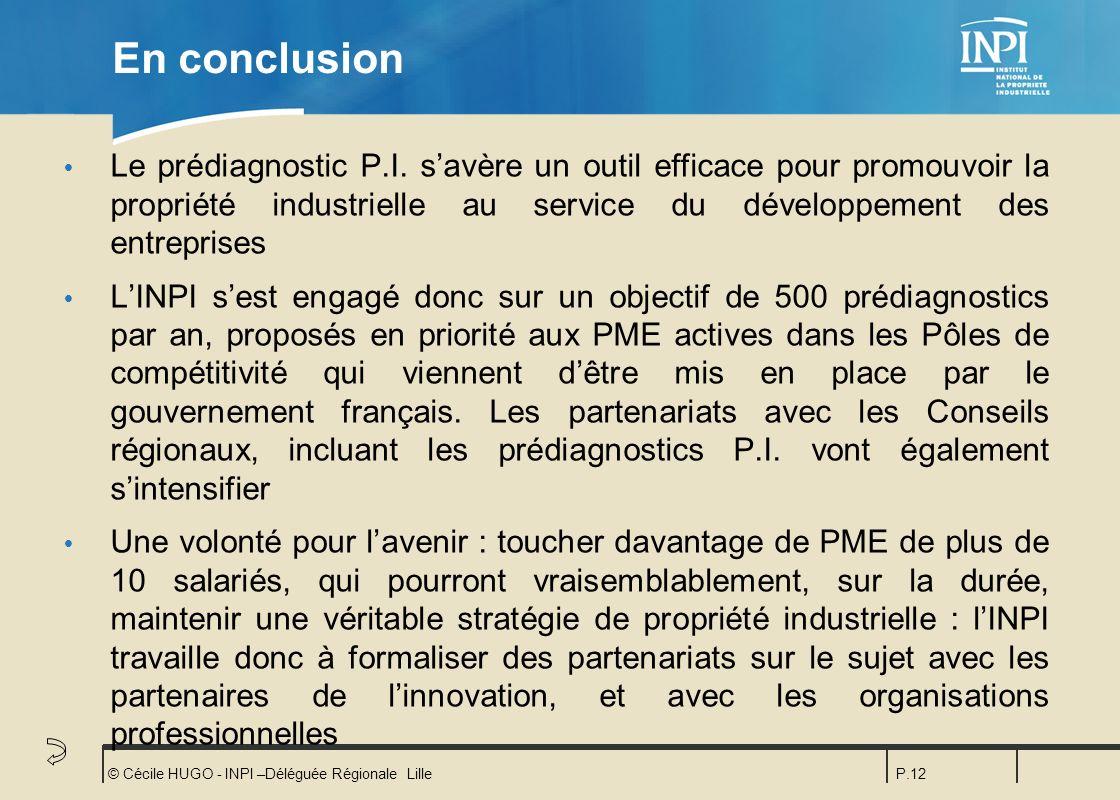 En conclusion Le prédiagnostic P.I. s'avère un outil efficace pour promouvoir la propriété industrielle au service du développement des entreprises.