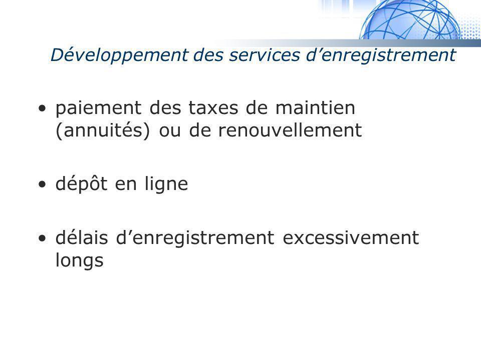 Développement des services d'enregistrement