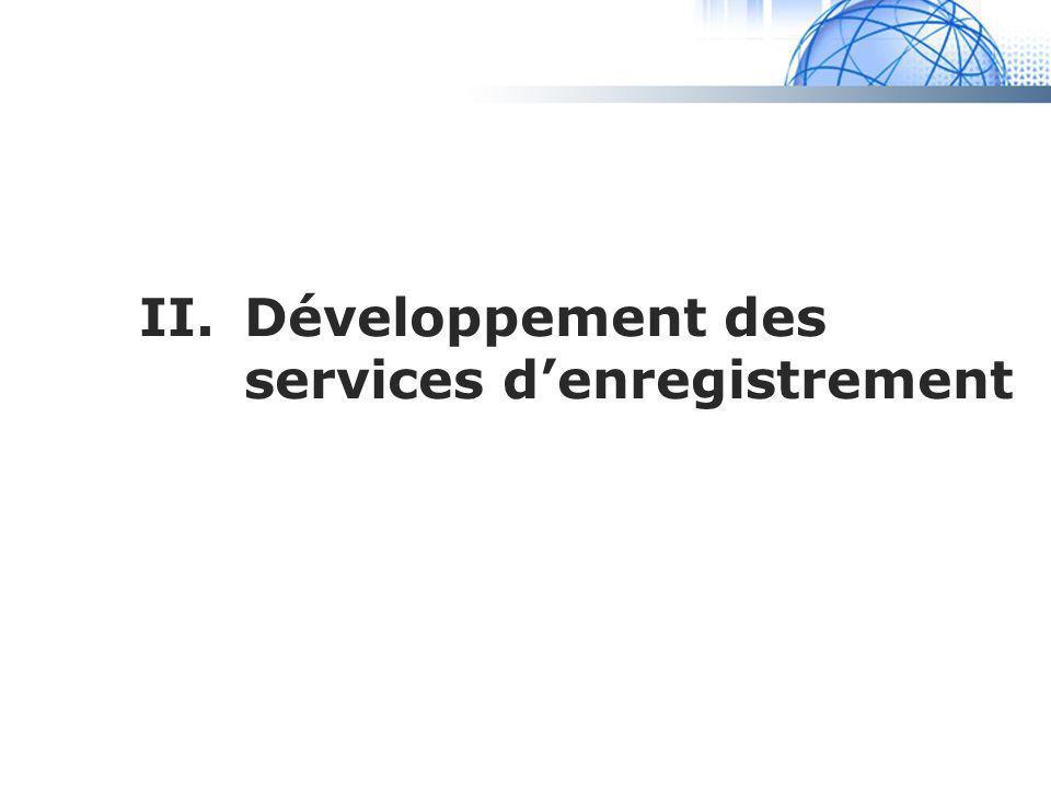 II. Développement des services d'enregistrement